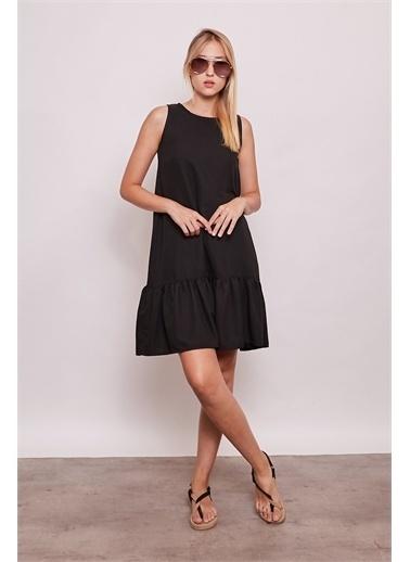 Jument İç Göstermez Viskon Poplin Geniş Sıfır Yaka Kolsuz Eteği Fırfırlı Elbise -Tarçın Siyah